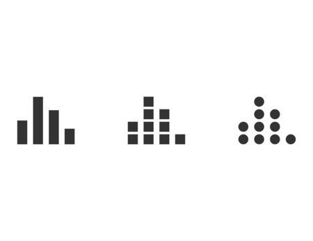 Equalizer sign. Isolated black wave symbol. Musical graphic illustration. Radio sound icon. Eq impulse in round and square shape. Vector EPS 10. Illustration
