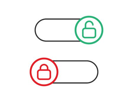Locked and unlocked toggle. Switch on and off. Control slider. Red and green slider with round shape. Opened and closed symbol. Turn on and off.
