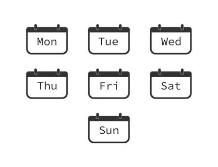 Days of week. Diary planner with from sunday to saturday. Schedule reminder icons. Set of calendar events. Office organizer. Simple outline notes. Vector Illustratie