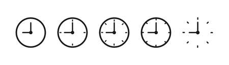 Stopwatch icons in black. Transparent countdown on white background. Isolated set of stop watch timer.