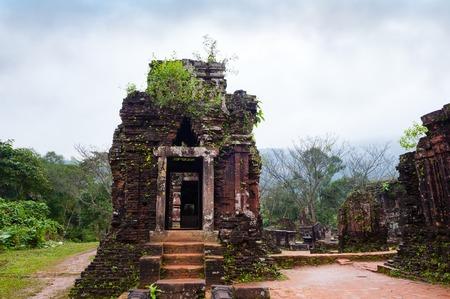 Ruin temple in cloudy weather, Vietnam
