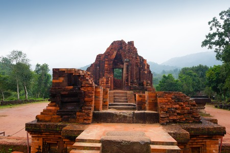 temple of red bricks in cloudy weather, Vietnam