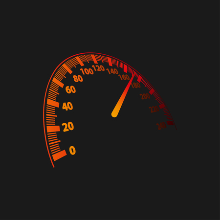 Vector illustration of a speedometer on black background. Vectores