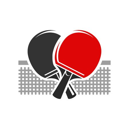 Table tennis  black and red rocket vector illustration