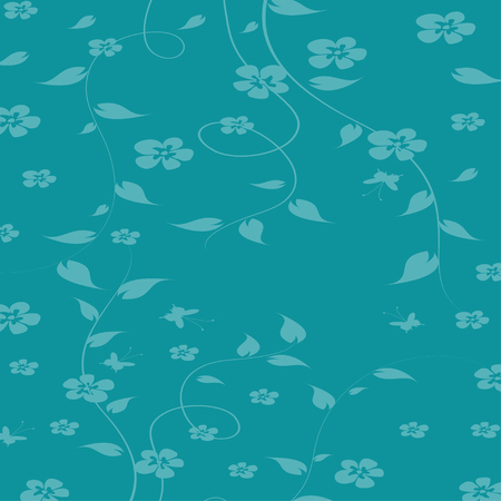 Seamless texture with plants and leaves on blue, summer seasonal vector background. Leaves and branches of clambering plant.