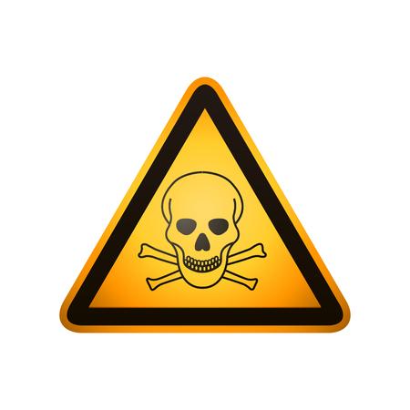 Gefahrenzeichen. Totenkopf mit gekreuzter Knochen Zeichen auf weißem Hintergrund
