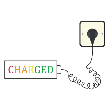 plug socket with text charged Vector illustration.