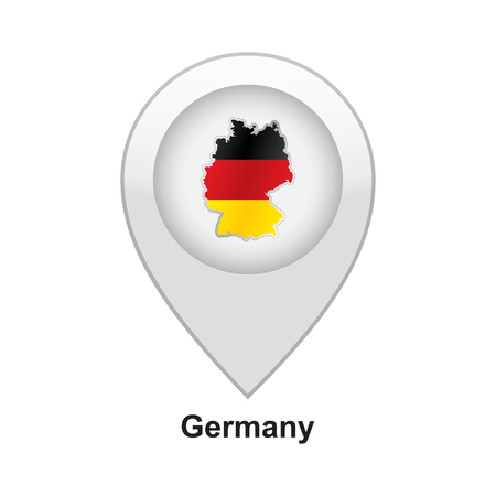 Glossy colorful Germany map application point label symbol hanging over enlightened background Vector illustration. Illustration