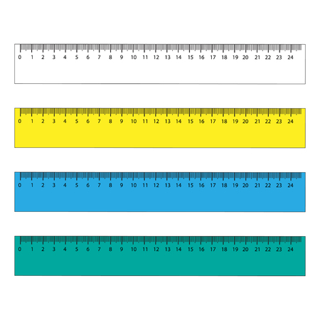 Rulers in centimeters and millimeters. Vector illustration set.