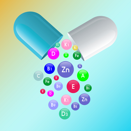 Vitamin complex of pill capsule and vitamins bubbles with names for dietary supplement and healthy lifestyle advertising design template.
