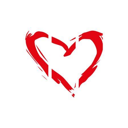 Hand drawn vector heart with paint texture. Valentines day or wedding design element. Иллюстрация