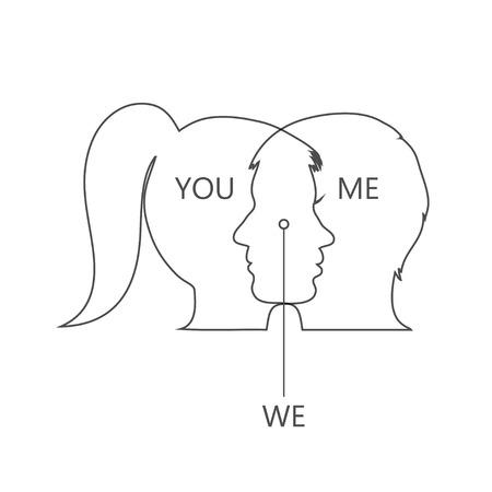le visage de la fille et du garçon sont unis en un seul Vecteurs