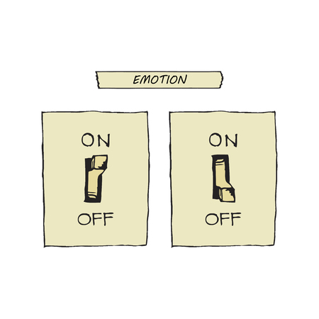 vector illustration of a switch that turns on and off the emotions