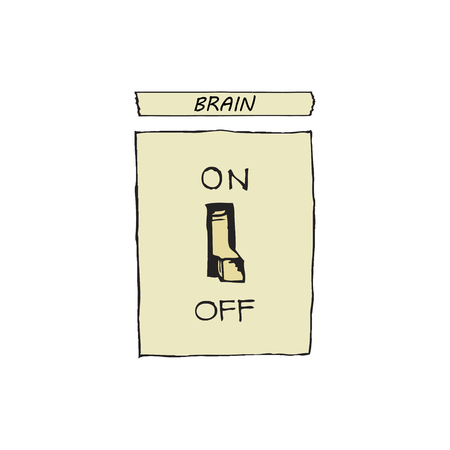 vector illustration of a switch that turns on and off the brains