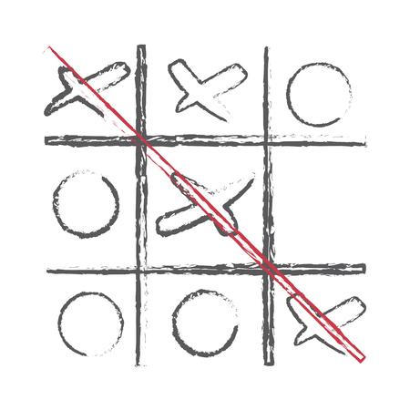 Hand drawn XO vector scribble icon symbol illustration black