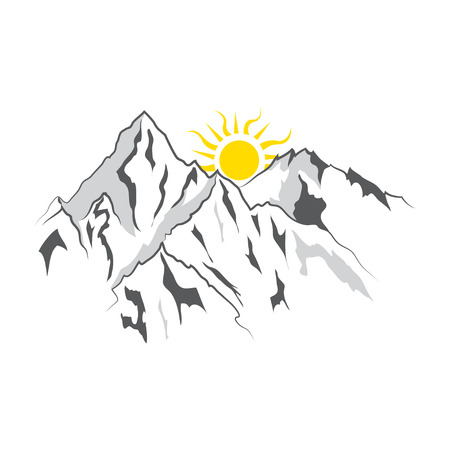 Mountain and landscape vector black on white