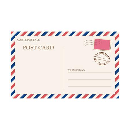 Vector illustration of blank airmail envelope with stamp and rubber stamp Vector Illustration