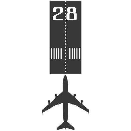 Airplane on the runway icon in simple style isolated on white background vector illustration Illustration