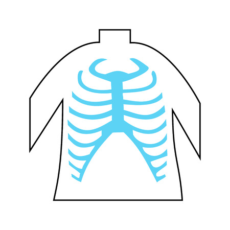 Rib Cage Lungs Heart Liver Stomach Iinternal Organs Icons and Symbols Retro Cartoon Design Vector Illustration