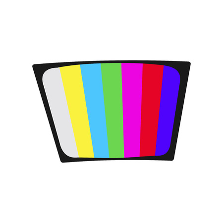LCD TV icon with long shadow - Vector
