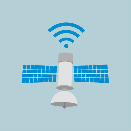 Satellite Icon on blue color. Illustration