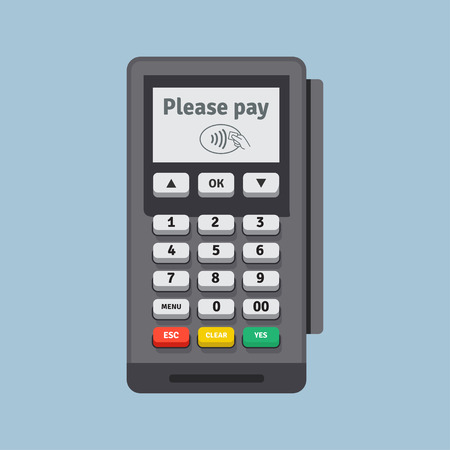 POS terminal vector icon in flat style, isolated from the background. Payment using POS machines for credit and debit cards. Banking and business services.