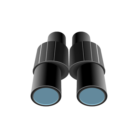 Classic binoculars with clear lenses isolated cartoon illustration