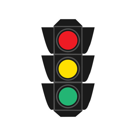 Traffic light flat design isolated on white background vector illustration