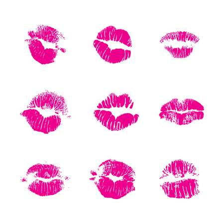 Set of fashion beauty women lips isolated on white background. Various shape sending kisses. Girls red lips close up.