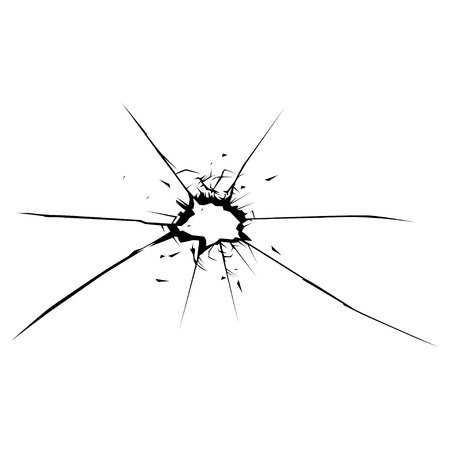 Broken glass on a white background, vector Reklamní fotografie - 110212299