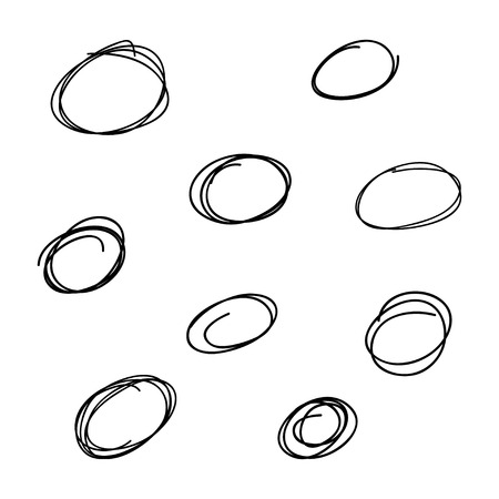 Set of the hand drawn scribble circles. Vector element. Illustration on white background. Ilustrace