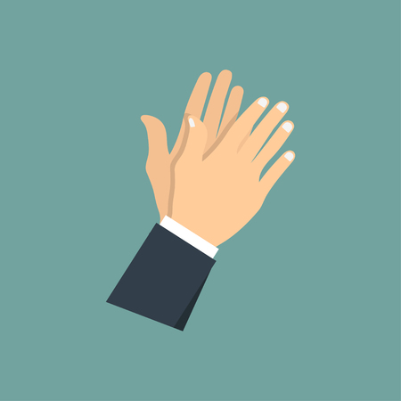Human hands clapping. applauding hands. vector illustration in flat style. Çizim