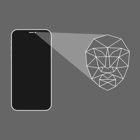 Ontgrendel de gezichts-ID-scanvector
