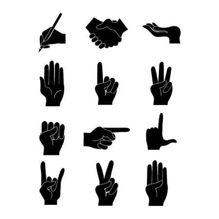 Hand silhouettes set of various emotions and gestures on white background isolated vector illustration