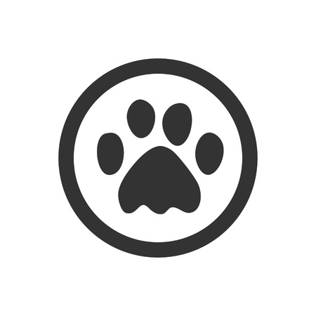 Paw Prints. Dog or cat paw print flat icon for animal apps and websites. 版權商用圖片 - 108943562