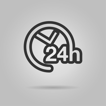 24h support icon. 24h support line icon