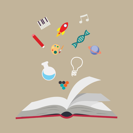 Book and icon set. School supply object and education theme. Isolated design. Vector illustration