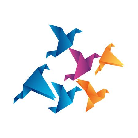 Vuelo de origami de pájaro abstracto. Ilustración vectorial. Ilustración de vector