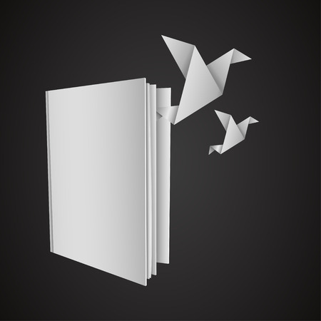 Abstract bird origami flying from open book, can used for freedom concept. Vector illustration.