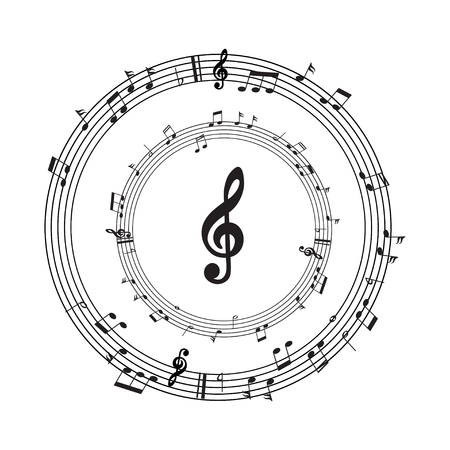 Music note with burst effect, vector illustration