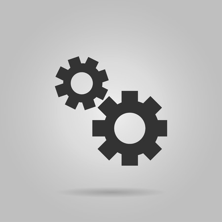 Gear line icon, flat vector graphic on isolated background.