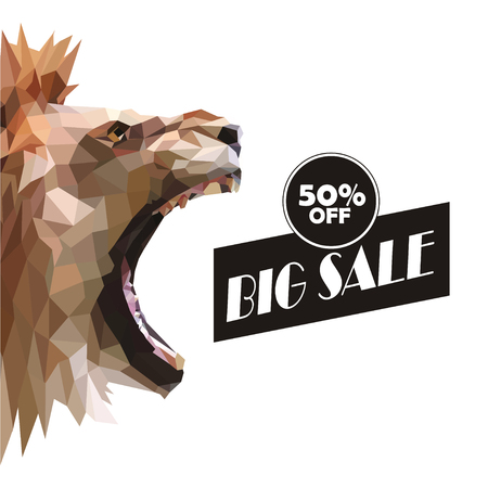 vector illustration of big sale poster with lion realistic head Illustration