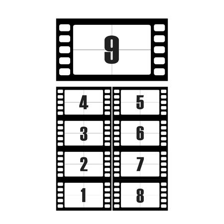 Ensemble de vecteurs de nombres de compte à rebours de film. Le compte à rebours jusqu'au début du vieux film. Le cinéma de compte à rebours minuterie isolé de l'arrière-plan