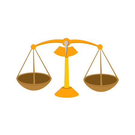 Flat illustration of scales of justice vector icon for web design Vectores