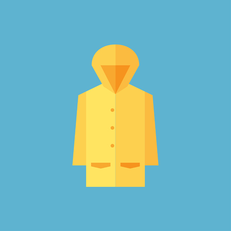 Raincoat icon, Flat design of rain coat clothing with round shadow, vector illustration