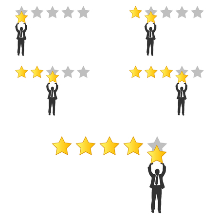 Star rating. Businessman holding a gold star in hand, to give five. Feedback concept. Positive review. Vector illustration flat design. Stock Illustratie