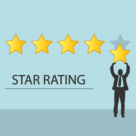 Star rating. Businessman holding a gold star in hand, to give five. Feedback concept. Positive review.