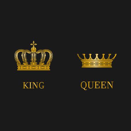 Ensemble de couronnes d'or isolées.