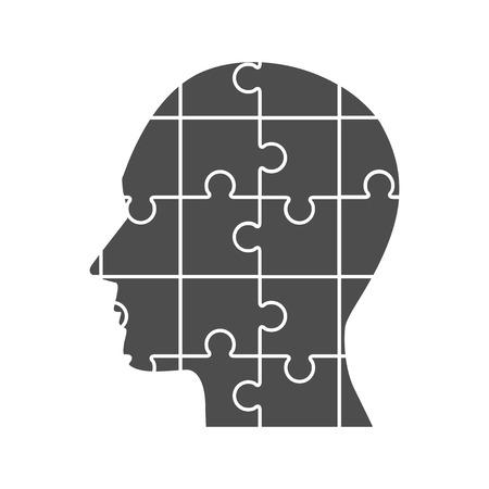 Vector puzzles human profile.