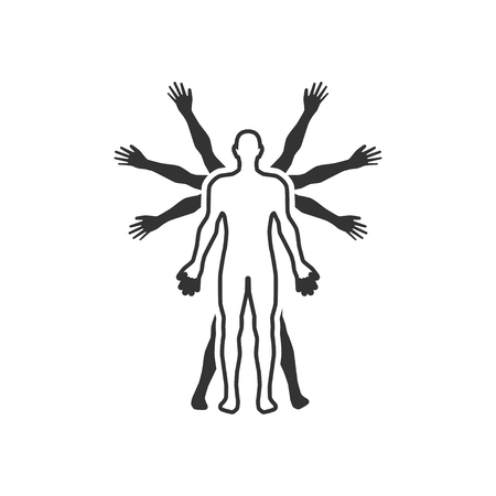 Vector silhouettes of couple that have a lot of hands. Standard-Bild - 108971091